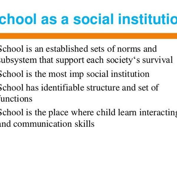 School As A Social Institution Essay Examples