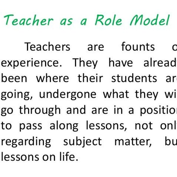 Teacher My Role Model Essay Examples