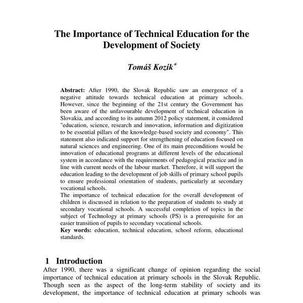 The Importance Of Technical Education Essay Examples