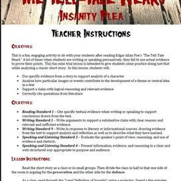 The Tell Tale Heart Insanity Essay Examples