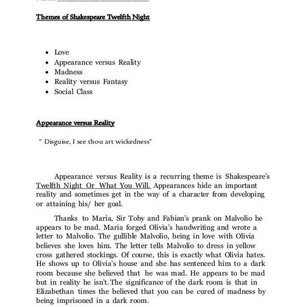 Twelfth Night Theme Love Essay Examples