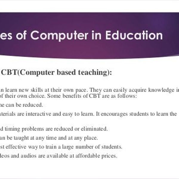 Uses Of Computer In Education Essay Examples