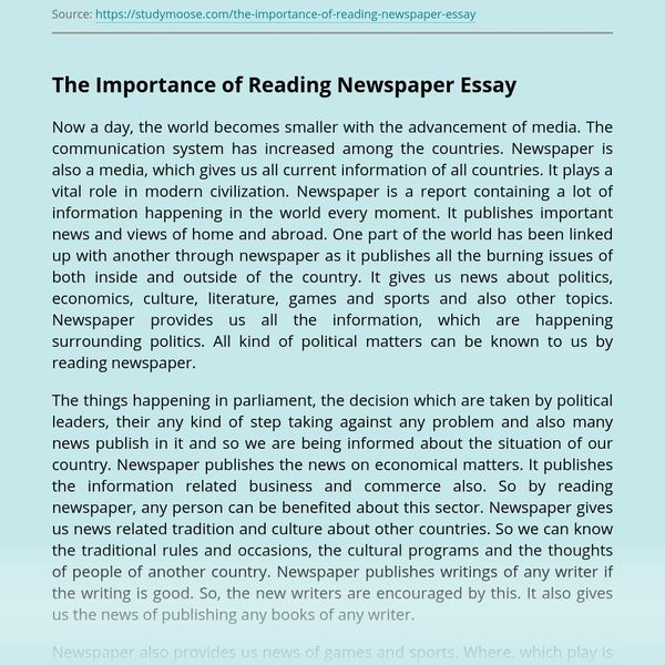 Value Of Reading Newspaper Essay Examples