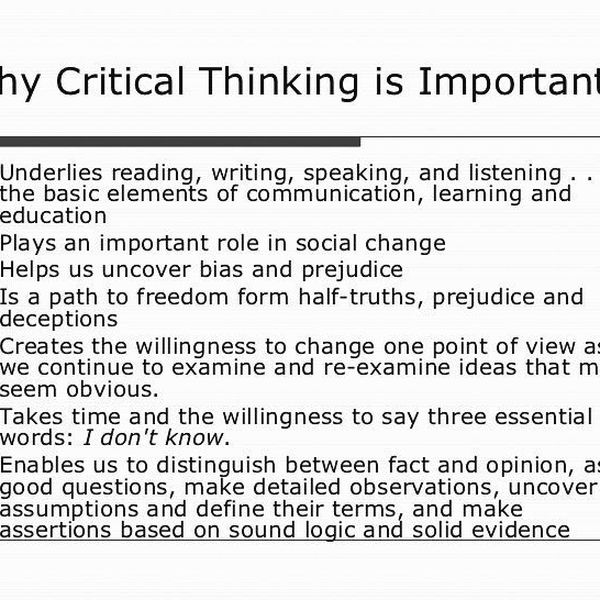 Why Critical Thinking Is Important Essay Examples