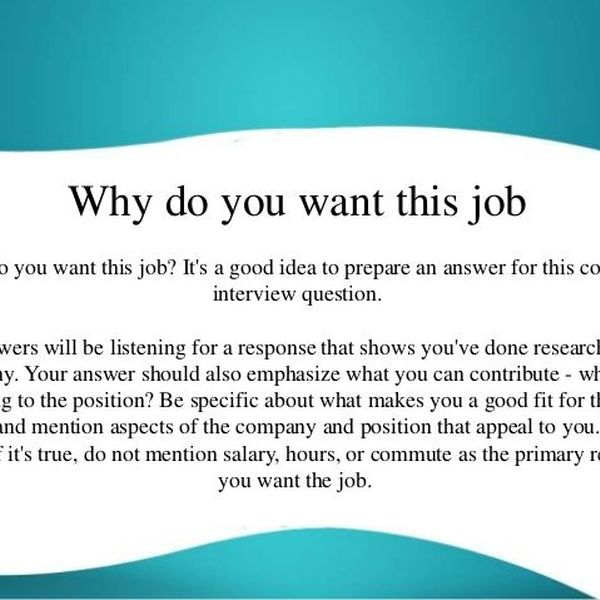 Why You Want A Job Essay Examples