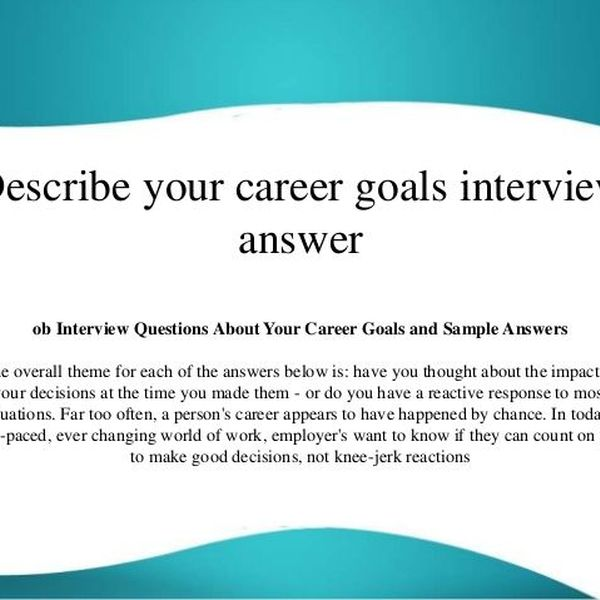 Your Career Goals Essay Examples
