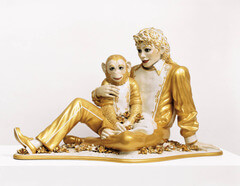 Jeff Koons, Michael Jackson and Bubbles, 1988. Contemporary art, USA -Banal: every day, unimportant things that are not noticeable - but often precious moments - Sculpted by traditional sculptors, experts of porcelain, European craftsman - not ready-made sculpture which is a common misconception - A life-sized sculpture of Micheal and his pet monkey Bubbles - The sculpture comments about race and America, changing appearance to be famous, Michael Jackson's skin - Inspired by pieta - comparing Jackson to Mary holding Jesus