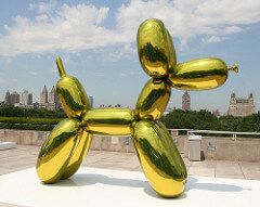 Jeff Koons Balloon Dog (Yellow), 1994-2000 High chromium stainless steel with transparent color coating 121 x 143 x 45 inches