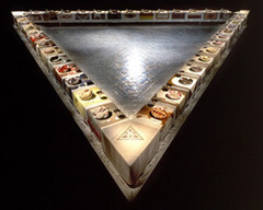 Judy Chicago, The Dinner Party, 1979. Multimedia. Feminism, USA Significance: - 13 plates on each side totalling 39 plates since it is a triangle - Each side relates to a time period - Made to give credit to women since they do not get much credit in history - Collaborative work of all women, different embroidery, carpenters, etc - shows all different contributions of women throughout time - Shaped like an equilateral triangle to symbolise equality - The floor contains 999 names of different women