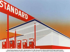 Standard Station  Ed Ruscha Mid 20th Century American  Uses the mass medial like Warhol. Exemplifies US pop art in the it uses cliches and reshapes them.