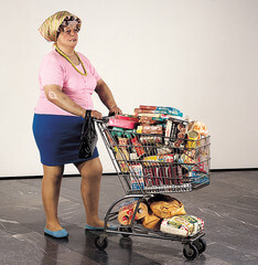 Supermarket Shopper  Duane Hanson Late 20th Century American  Stunningly realistic. Great stagecraft. He beleived that paper and canvas was too restrictive. He wanted reality in his art.