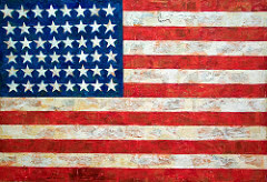 Three Flags  Jasper Johns Mid 20th Century American  A pioneer of POP ART. Things though of as junk can be celebrated and used -- monumental. this was past cultures will be known by their everyday, commonplace items.   Also did