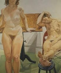 Two Female Models with Drawing Table by Pearlstein