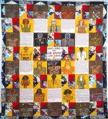 Who's afraid of aunt Jemima?  Faith Ringgold Late 20th century American  Two minorities in art: she is a woman and she is black. Her art addresses this. The art of quilting came to the US through slaves. She used textiles imported from Africa. Shows the struggles of women and oppression of the African american.